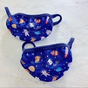 Kids face mask universe stars planets set of 2